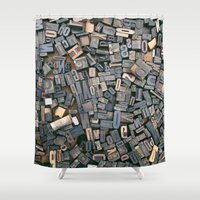 letters Shower Curtains featuring Letters by Abby Wheeler