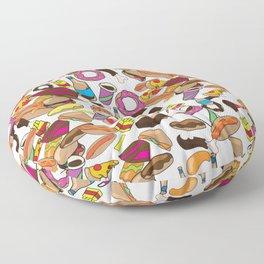 Cartoon Junk food pattern. Floor Pillow