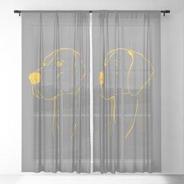 Weimaraner (Gray and Yellow) Sheer Curtain