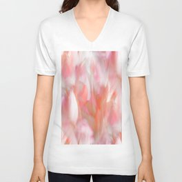 Pink Tulips Abstract Nature Spring Atmosphere Unisex V-Neck