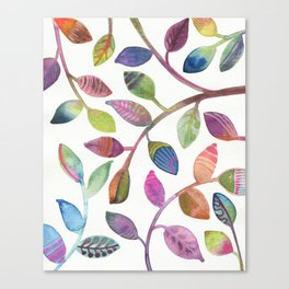 Colorful Leaves Watercolor Canvas Print
