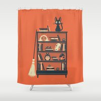 ghibli Shower Curtains featuring Ghibli Shelf // Miyazaki by Daniel Mackey