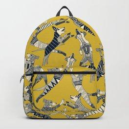 dog party indigo yellow Backpack