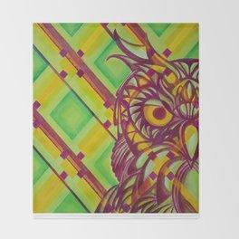 Green Owl Throw Blanket