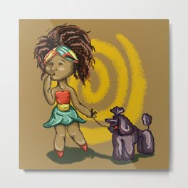 Girl whith pudel Metal Print