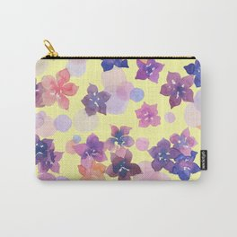 Watercolor Flowers and Bubbles Pale Yellow and Purple Carry-All Pouch