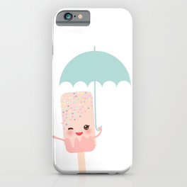 pink ice cream, ice lolly holding an umbrella. Kawaii with pink cheeks and winking eyes iPhone Case