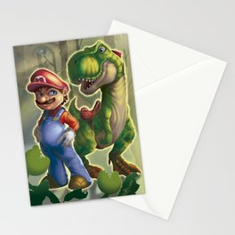 Mario and Yoshi in the real world Stationery Cards