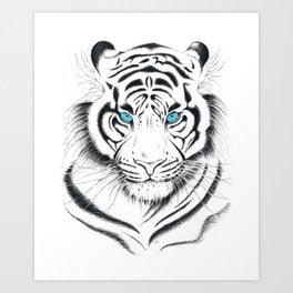 White Bengal tiger Blue Eyes Ink Art Art Print