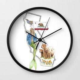 California Mermaid Wall Clock