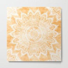 TANGERINE BOHO FLOWER MANDALA Metal Print