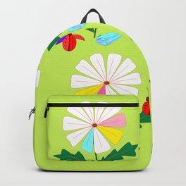 Green Spring Damselflies, Lady Bugs and Daisies Backpack