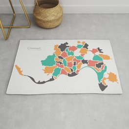 Cincinnati Ohio Map with neighborhoods and modern round shapes Rug
