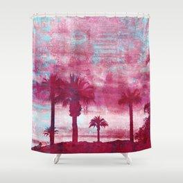 Pacific Island Grunge Look Mixed Media Art Shower Curtain