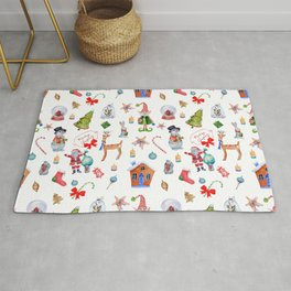 Christmas seamless texture on white background. Merry Christmas characters Rug