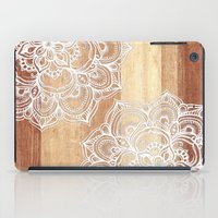 lace iPad Cases featuring White doodles on blonde wood - neutral / nude colors by micklyn