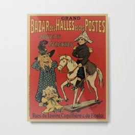 Vintage toy and holiday gifts store Paris ad Metal Print