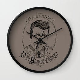 Constantly Ron Swansoning Wall Clock