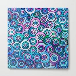 Blue Groovy Bullseye Metal Print