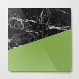 Black marble and greenery color Metal Print