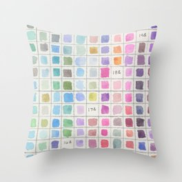 Cool Colored Watercolor Swatches Throw Pillow