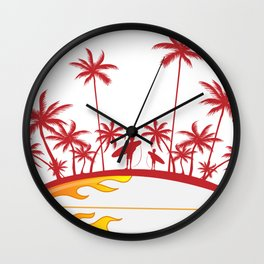 surfboard with palm tree isoalted on white Wall Clock