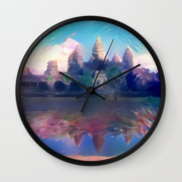 Hazy Reflection Angkor Wat Wall Clock