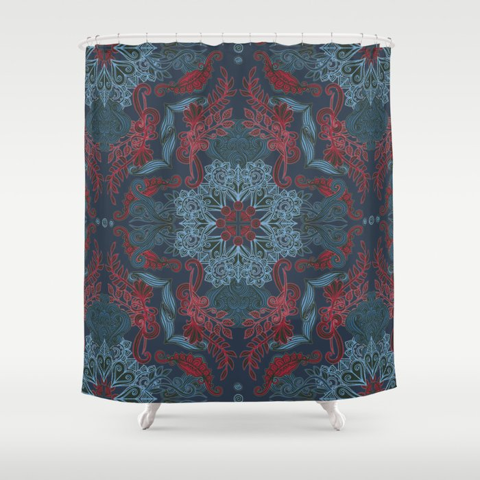 Vintage Fancy A Pattern In Deep Teal Amp Red Shower