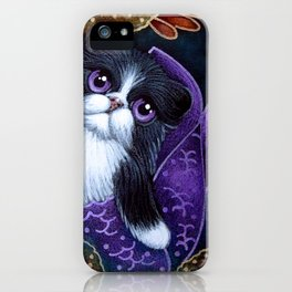 LOVELY TUXEDO PERSIAN MERMAID CAT BY THE REEF iPhone Case