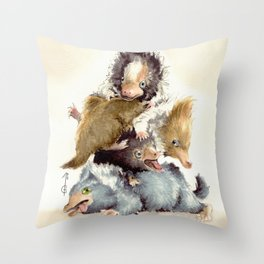 Niffler babies Throw Pillow