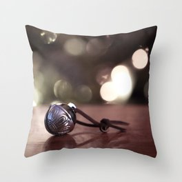 Believe - Silver Sleigh Bell Throw Pillow