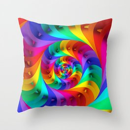Psychedelic Rainbow Spiral  Throw Pillow