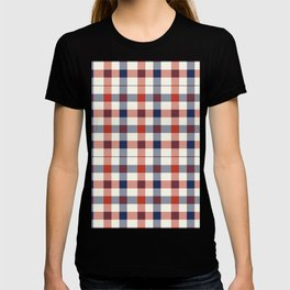 Plaid Red White And Blue Lumberjack Flannel Design T-shirt