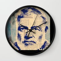 hemingway Wall Clocks featuring Hemingway by Jonathan David Creative
