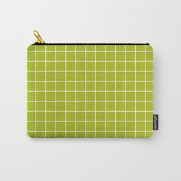 Acid Green - Green Color - White Lines Grid Pattern Carry-All Pouch