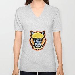 Angry Alpaca Head Mascot Unisex V-Neck