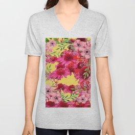 FUCHSIA-PINK FLOWERS YELLOW ART PATTERNS Unisex V-Neck