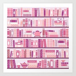 Bookcase Pattern Romance Pink Books Art Print