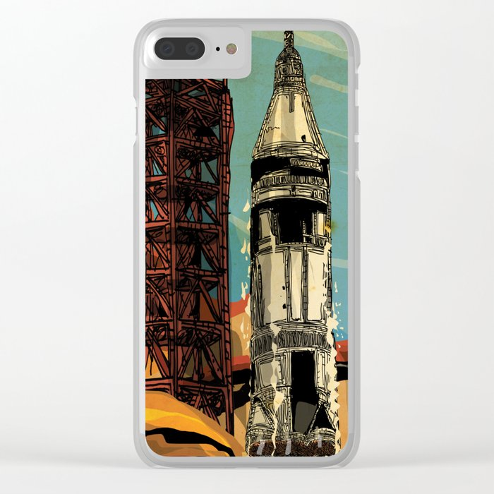 Apollo 11 NASA rocket 50th anniversary Clear iPhone Case by erosner