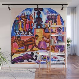 """African American Classical Masterpiece """"African American Slave History"""" by Hale Woodruff Wall Mural"""
