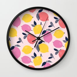 Kitschy Colorful Citrus Pattern Wall Clock