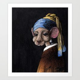 Mouse with a Pearl Earring Art Print