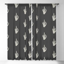 Fuck you middle finger skull ugly Christmas Blackout Curtain