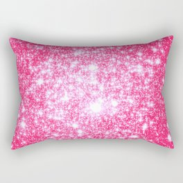Hot Pink Galaxy Stars Sparkle Rectangular Pillow