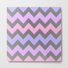 Lavendar and Pink Ombre Chevron Metal Print