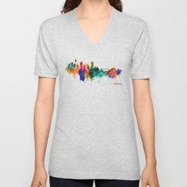 Sydney watercolor skyline Unisex V-Neck