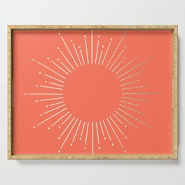 Simply Sunburst in Deep Coral Serving Tray