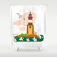 lighthouse Shower Curtains featuring Lighthouse by LaDa