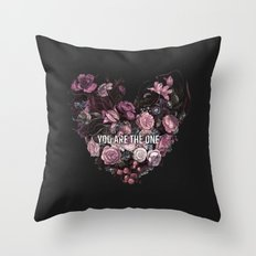 You Are The One // Floral Valentine's Heart Throw Pillow