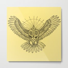 Mason Owl with skull, rule, compass and the eye that sees everything (tattoo style) Metal Print